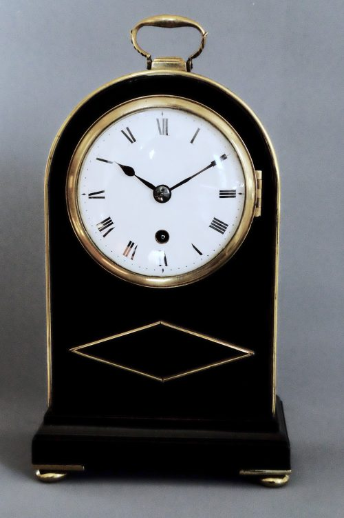 Regency Miniature Brass-Inlaid ebonised timepiece