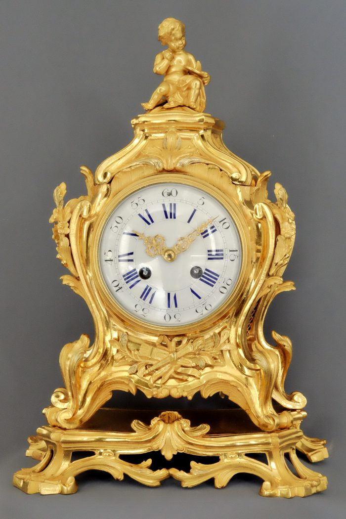 French Louis XV1-Style Ormolu Striking Mantel Clock
