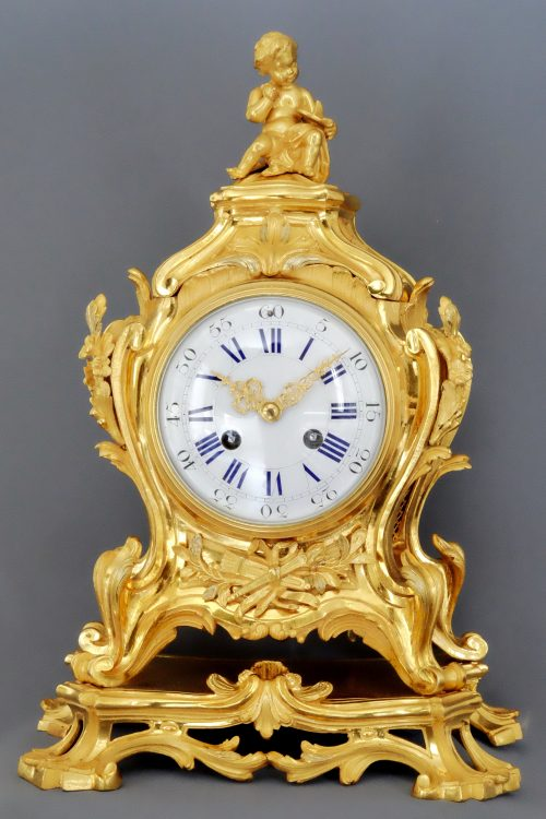 French Louis XV1-Style Ormolu Striking Mantel Clock