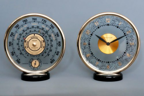 Jaeger LeCoultre Mid-Century Eight day Clock and Aneroid Barometer Set