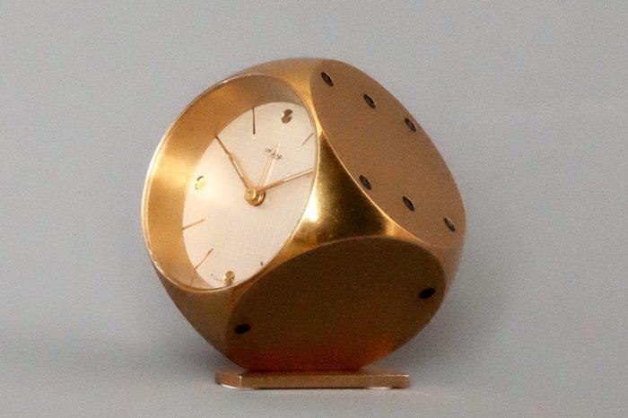 Imhof Gold Dice Motif Desk 8 Day Alarm Clock Swiss Made