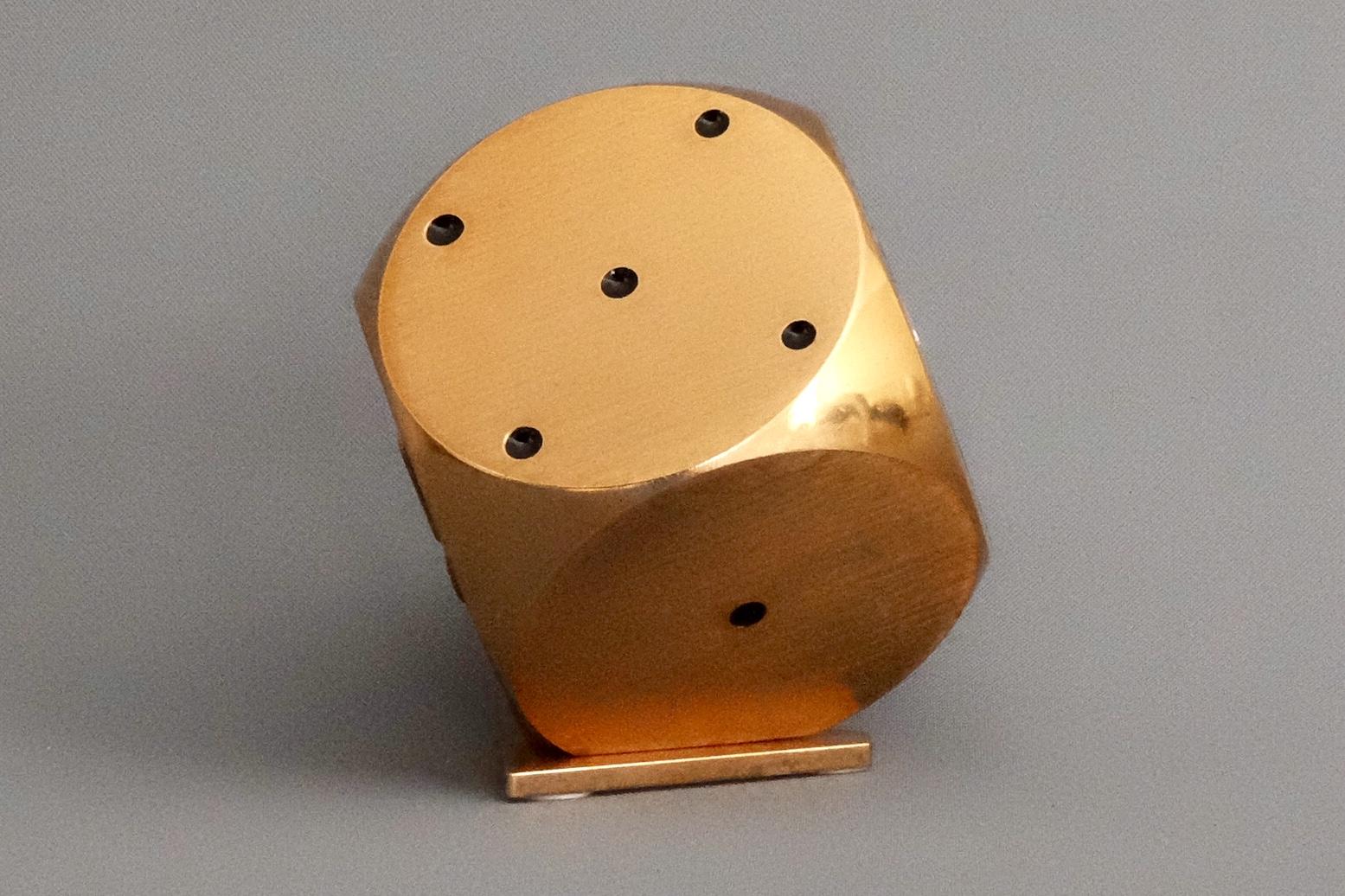 Imhof Gold Dice Motif Desk Eight Day Swiss Alarm Clock