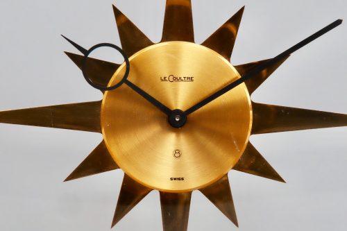 Jaeger LeCoultre Vintage Mid Century Sunburst 8 Day Desk Clock