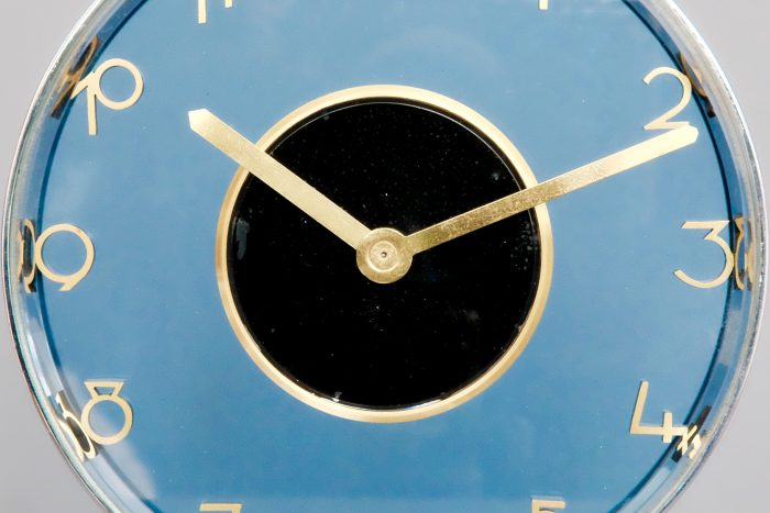 Jaeger LeCoultre Mid-Century 8 Day Swiss Blue Glass clock