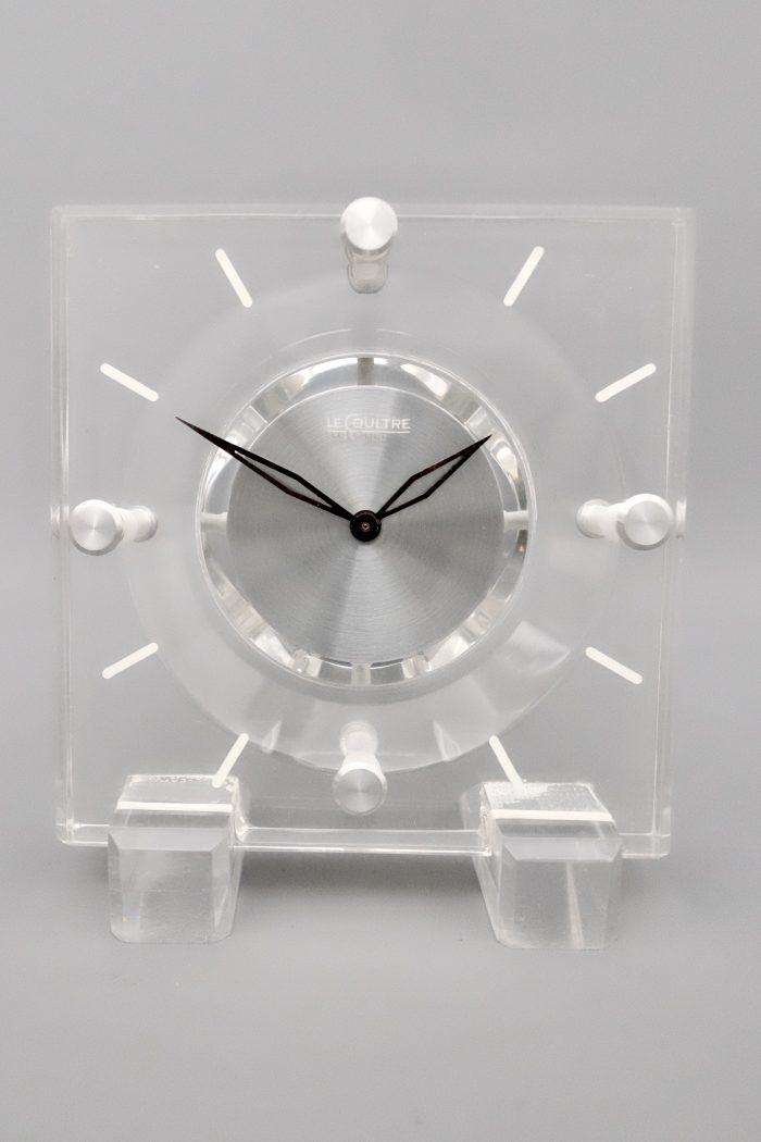 Mid Century Jaeger LeCoultre Transparent Lucite desk clock