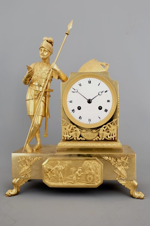 French Empire Ormolu Striking Figural Mantel Clock