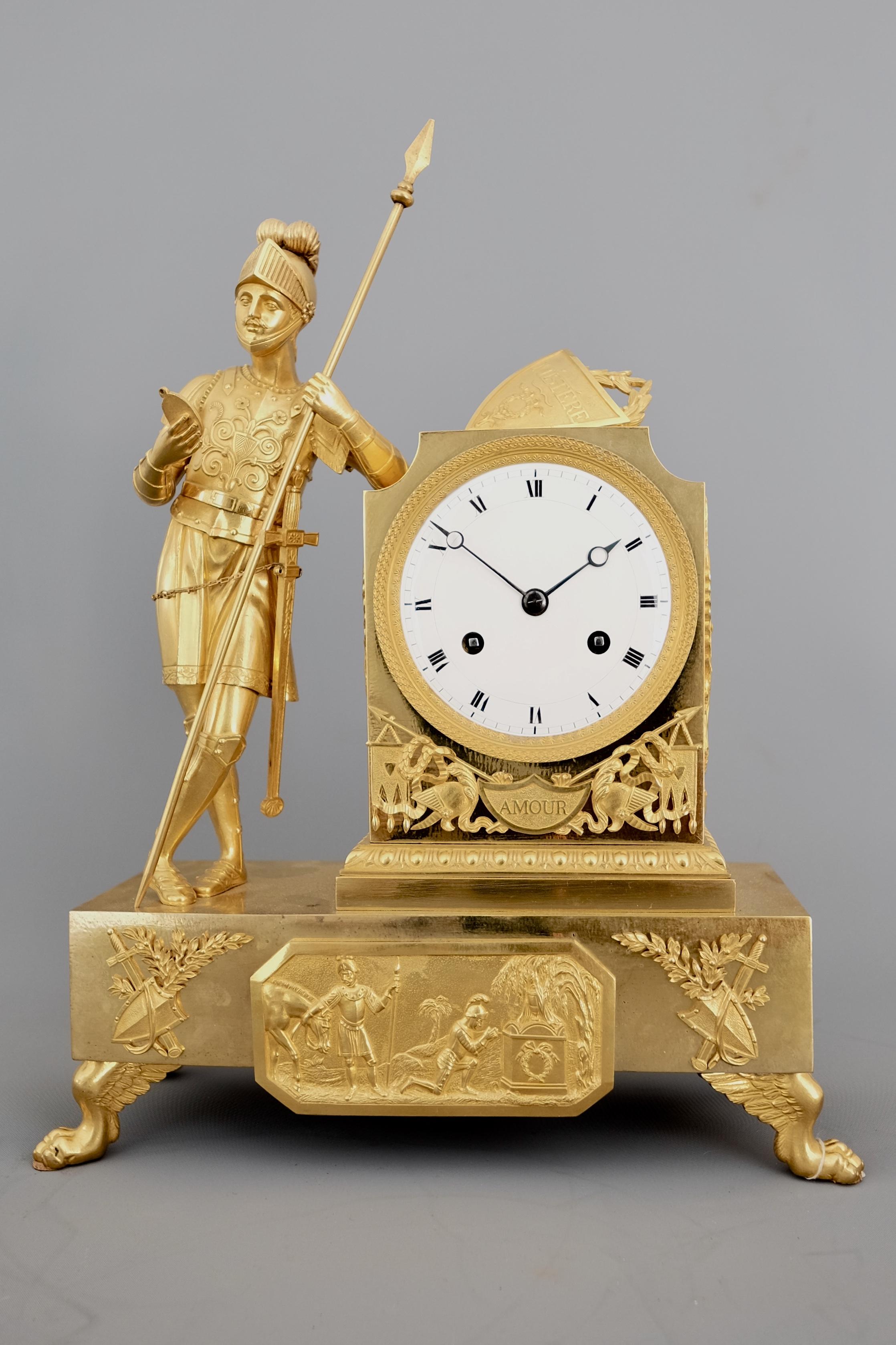 French Empire Ormolu Striking Figural Mantel Clock