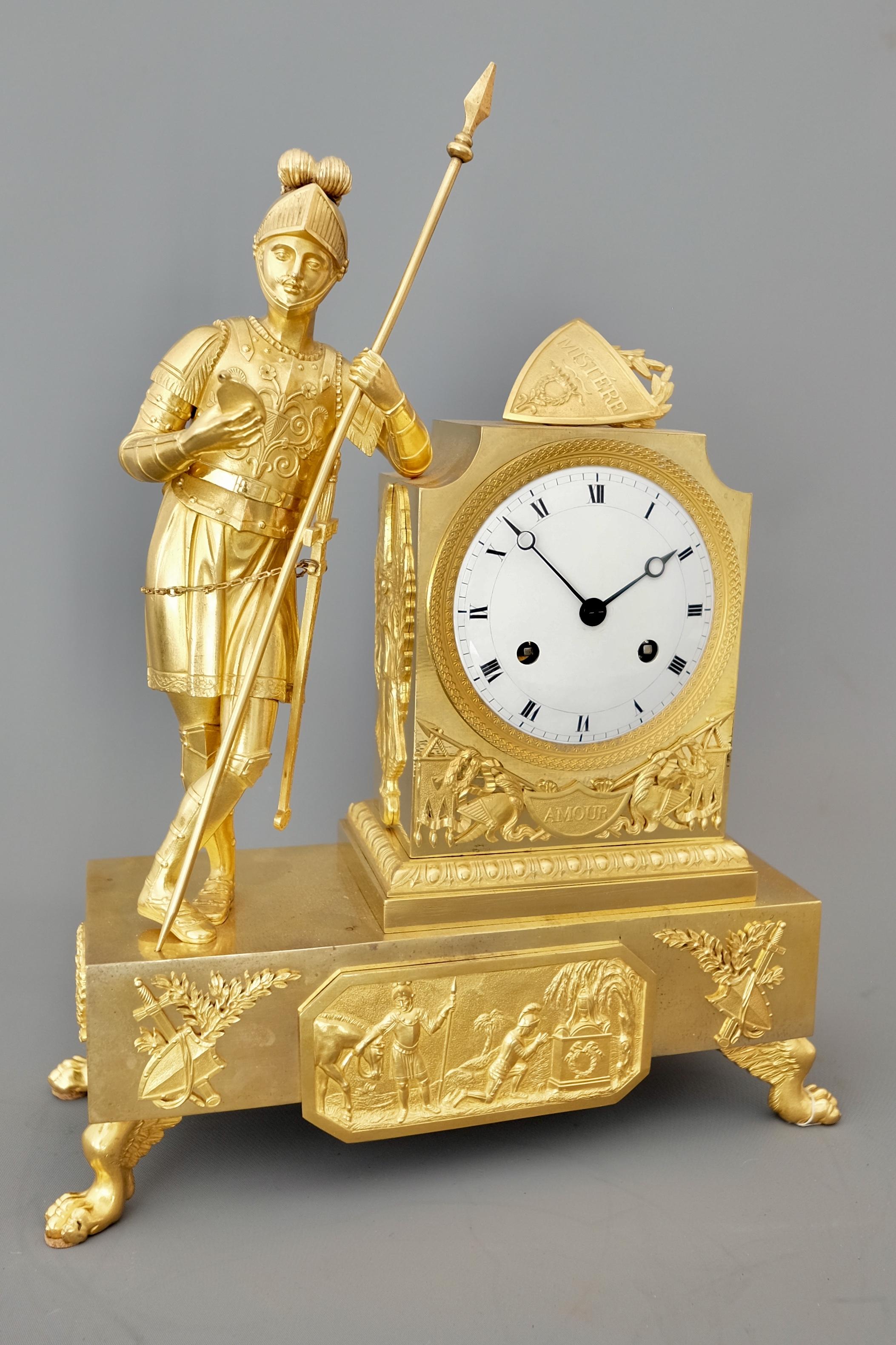 French Striking Figural Mantel Clock
