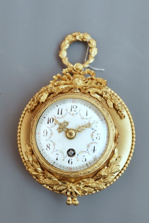 French miniature ormolu cartel clock