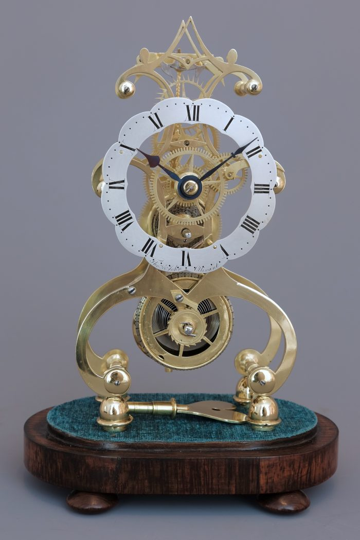 Victorian brass timepiece skeleton clock