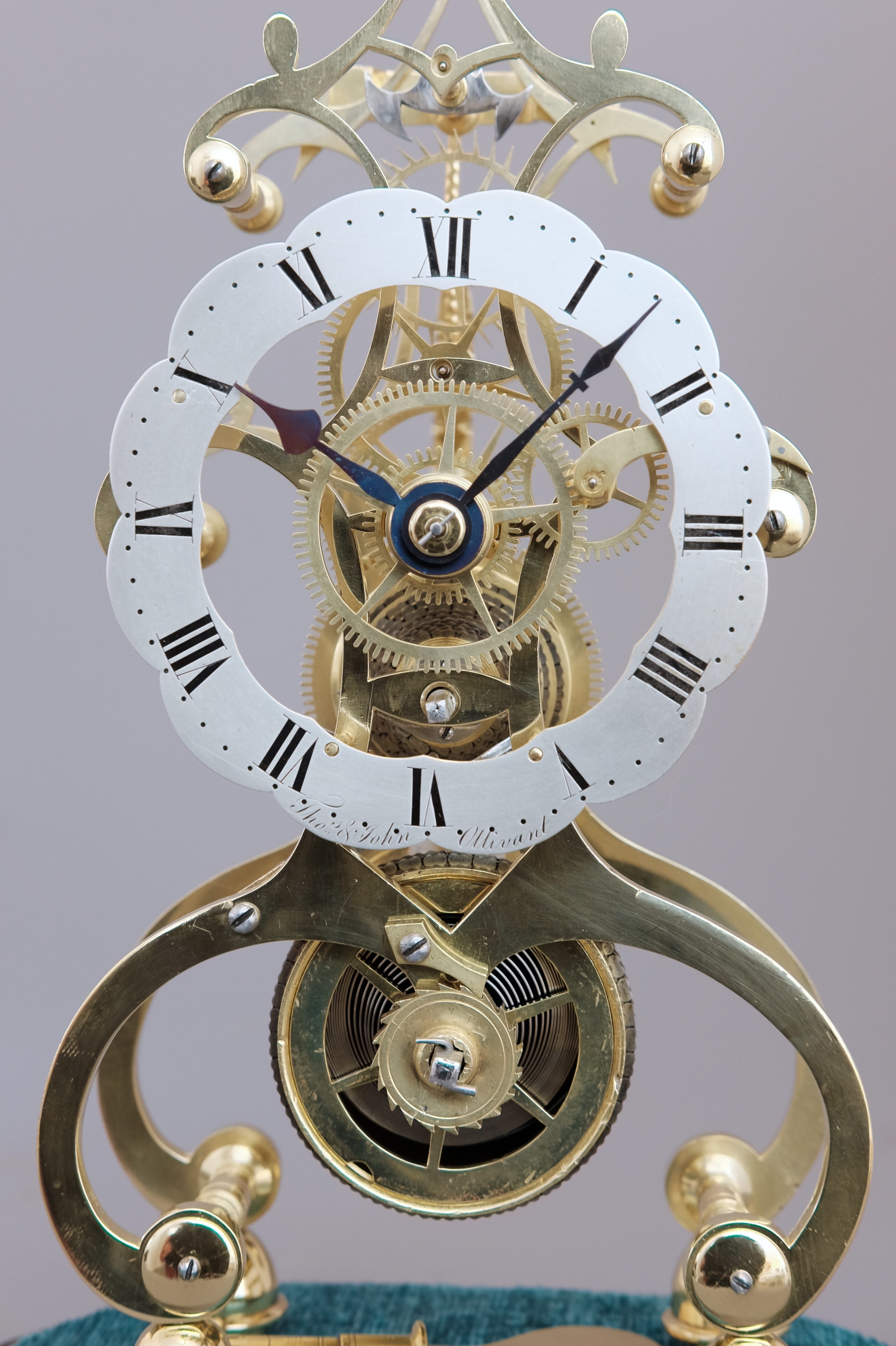 Detail of Victorian skeleton clock