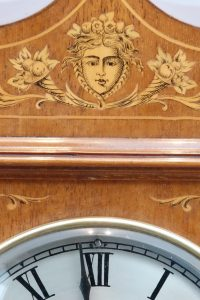 Detail of Edwardian Marquetry Inlaid Striking Mantel Clock