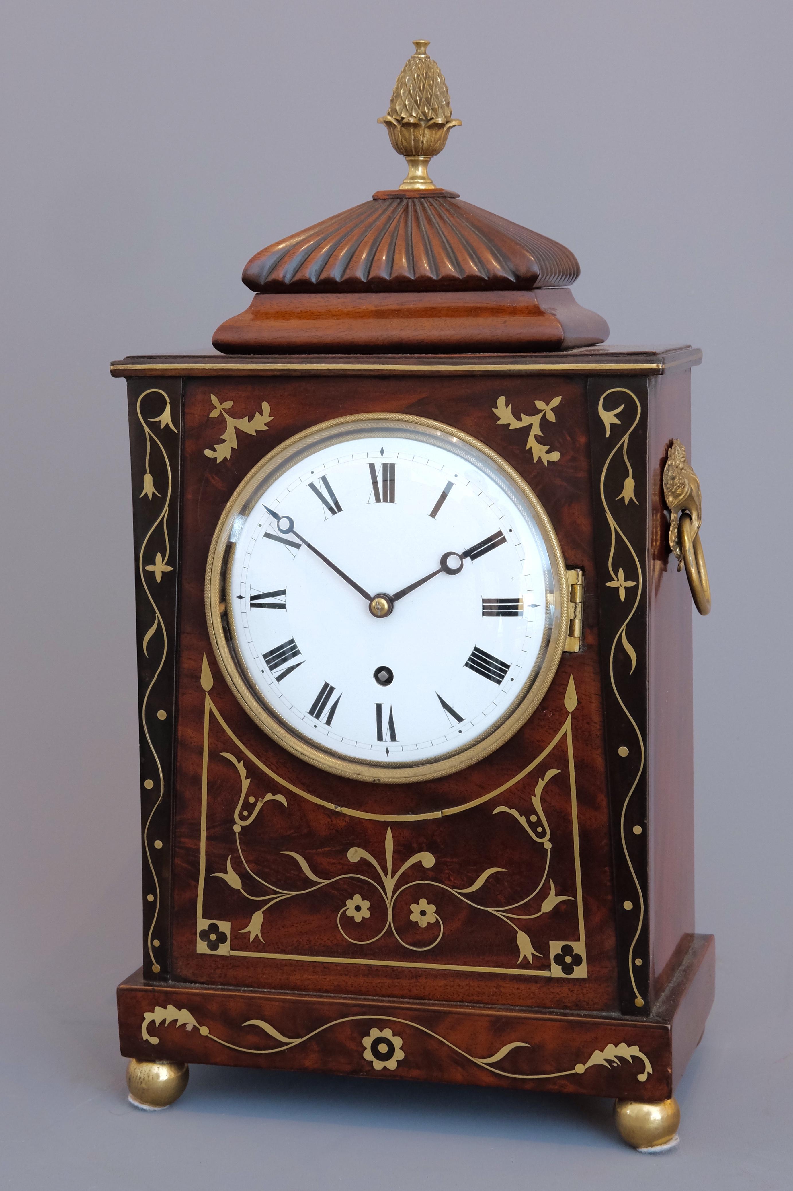 William IV mahogany small bracket clock