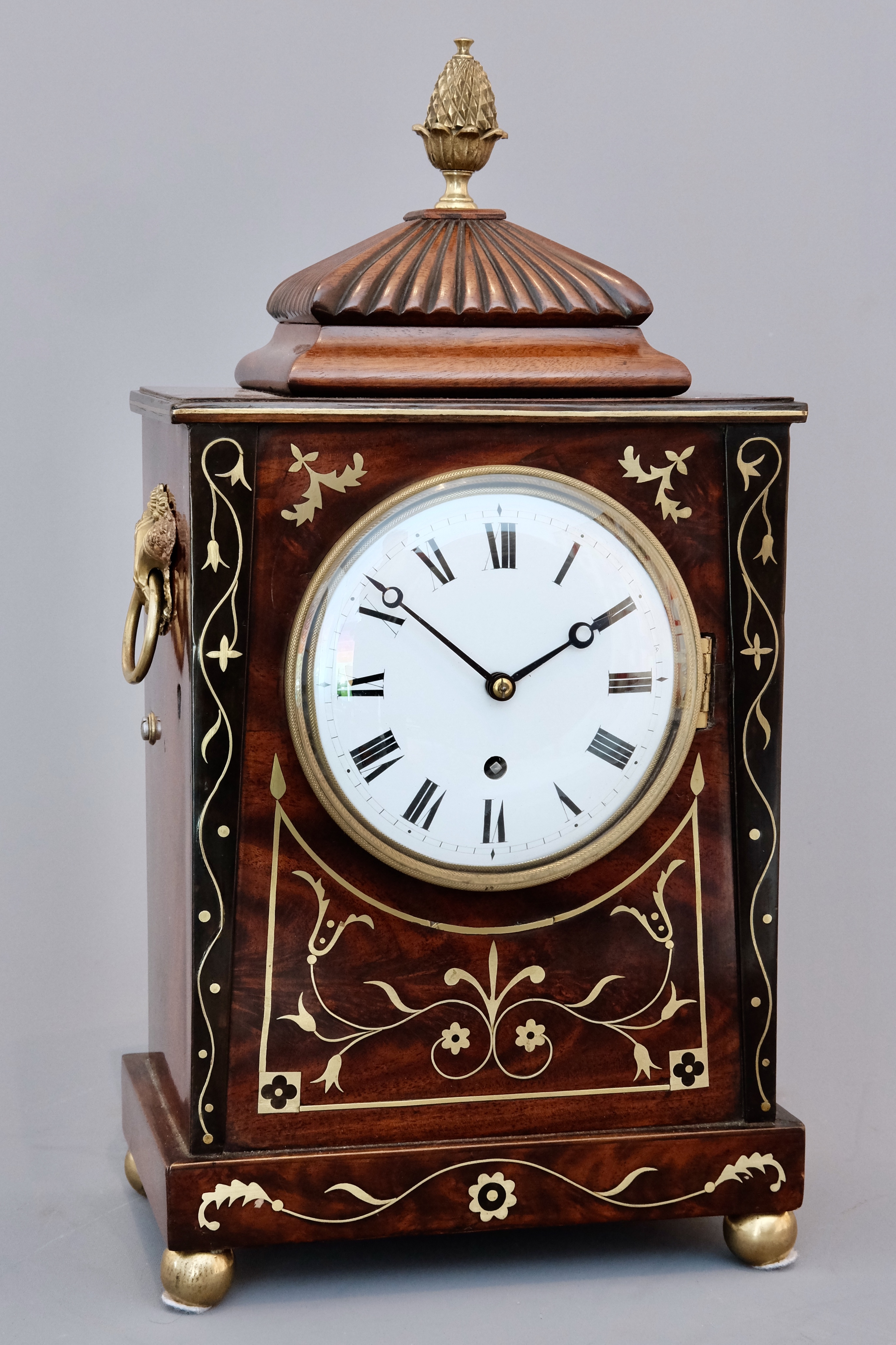 William IV Brass Inlaid Mahogany Bracket Clock
