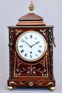 Brass-Inlaid Mahogany Timepiece Bracket Clock in the Thomas Hope Style