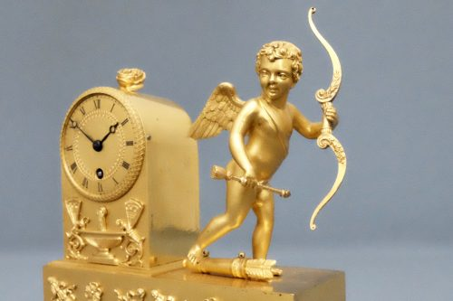 French Empire Antique Cherub Clock