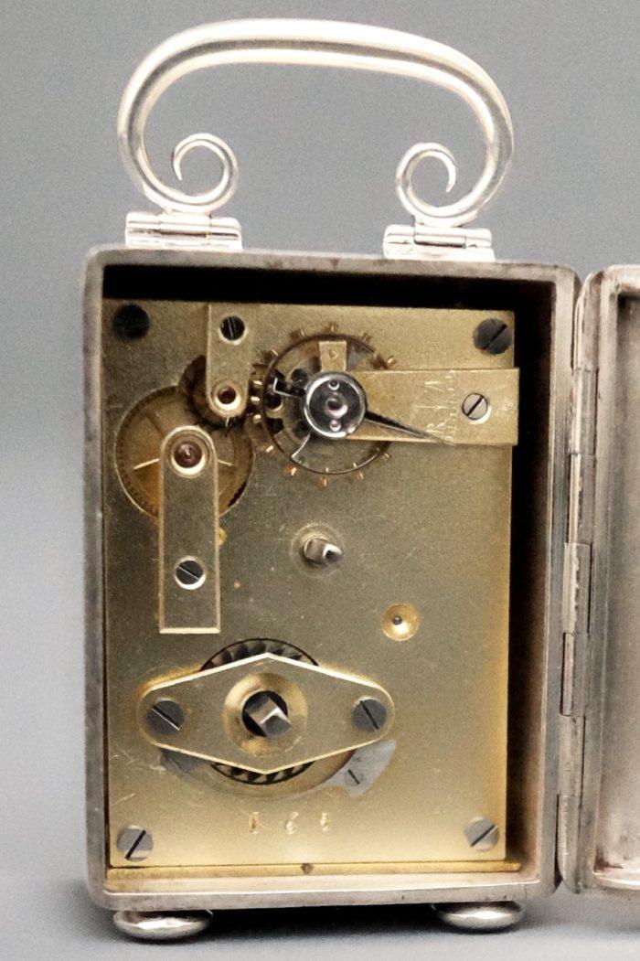 Silver miniature carriage clock back