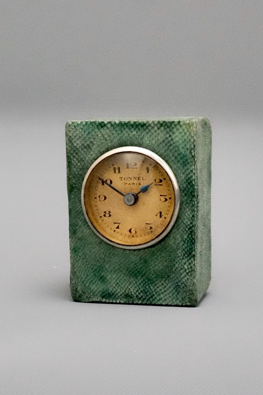 Green snakeskin miniature carriage clock