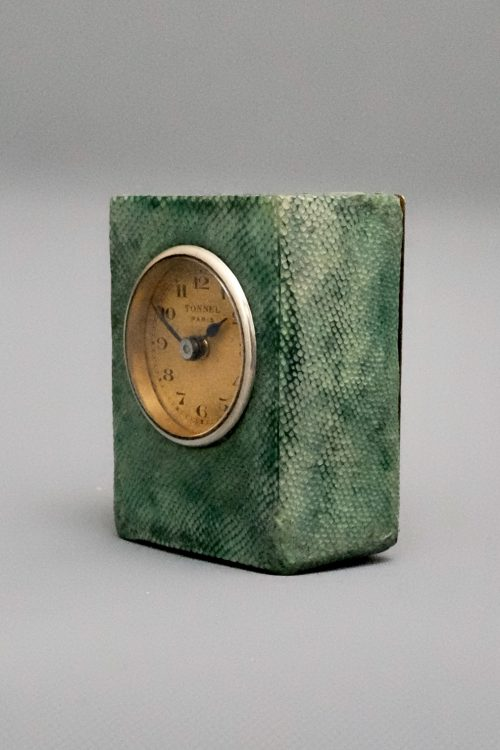 Green snakeskin miniature carriage clock