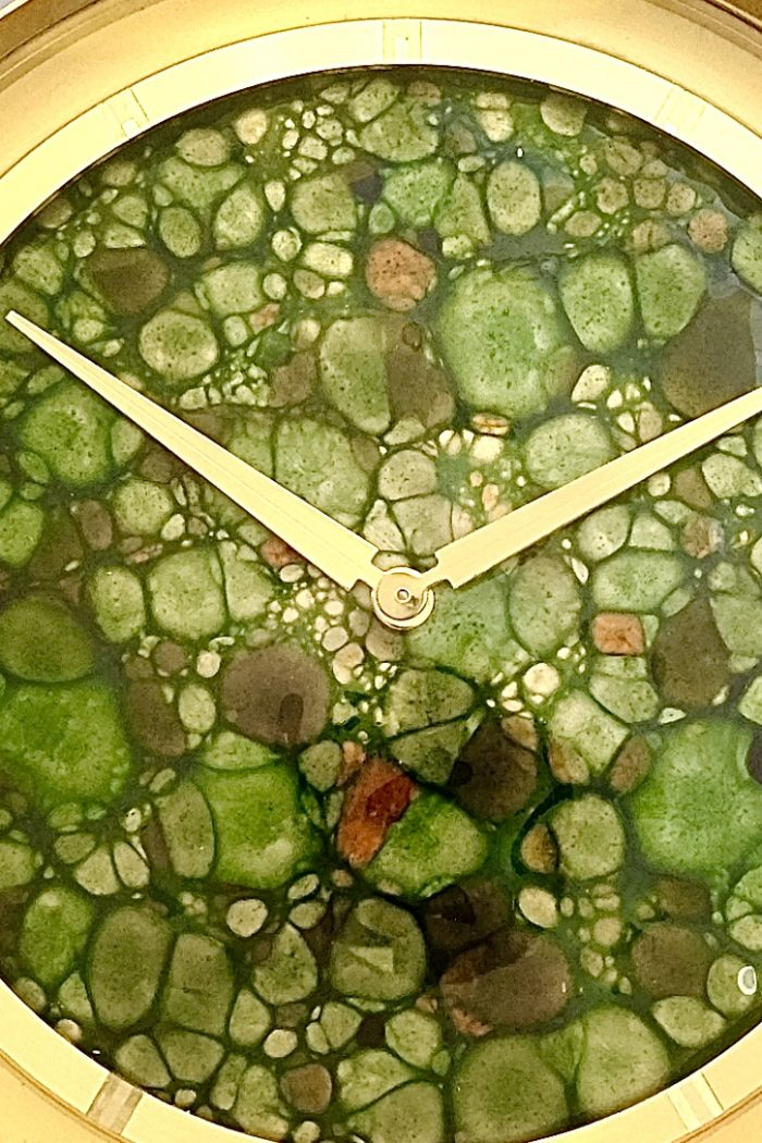 Mid Century Jeager LeCoultre Mantel Clock with green enamel dial