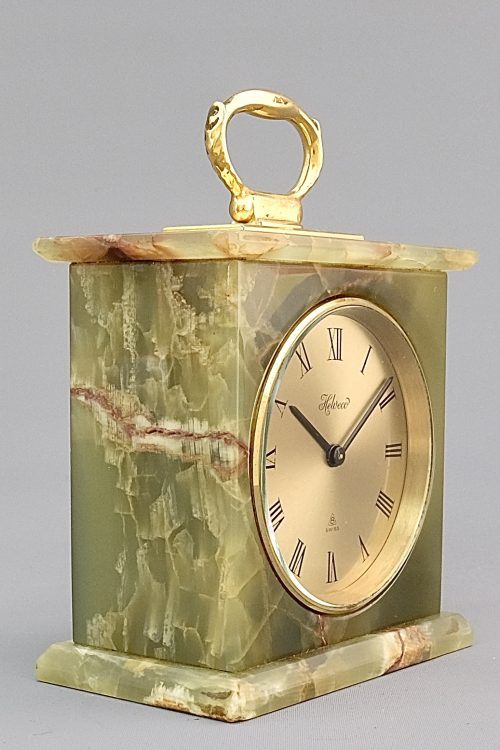 Helwood Mid Century Green onyx mantel clock