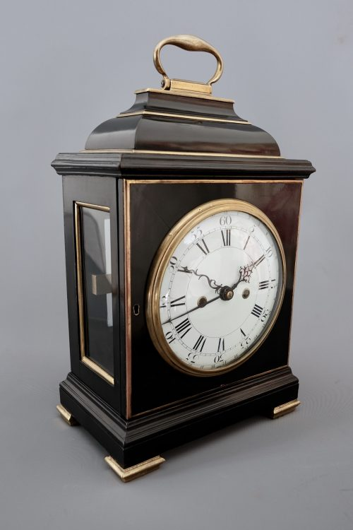 Ebonised striking bracket clock