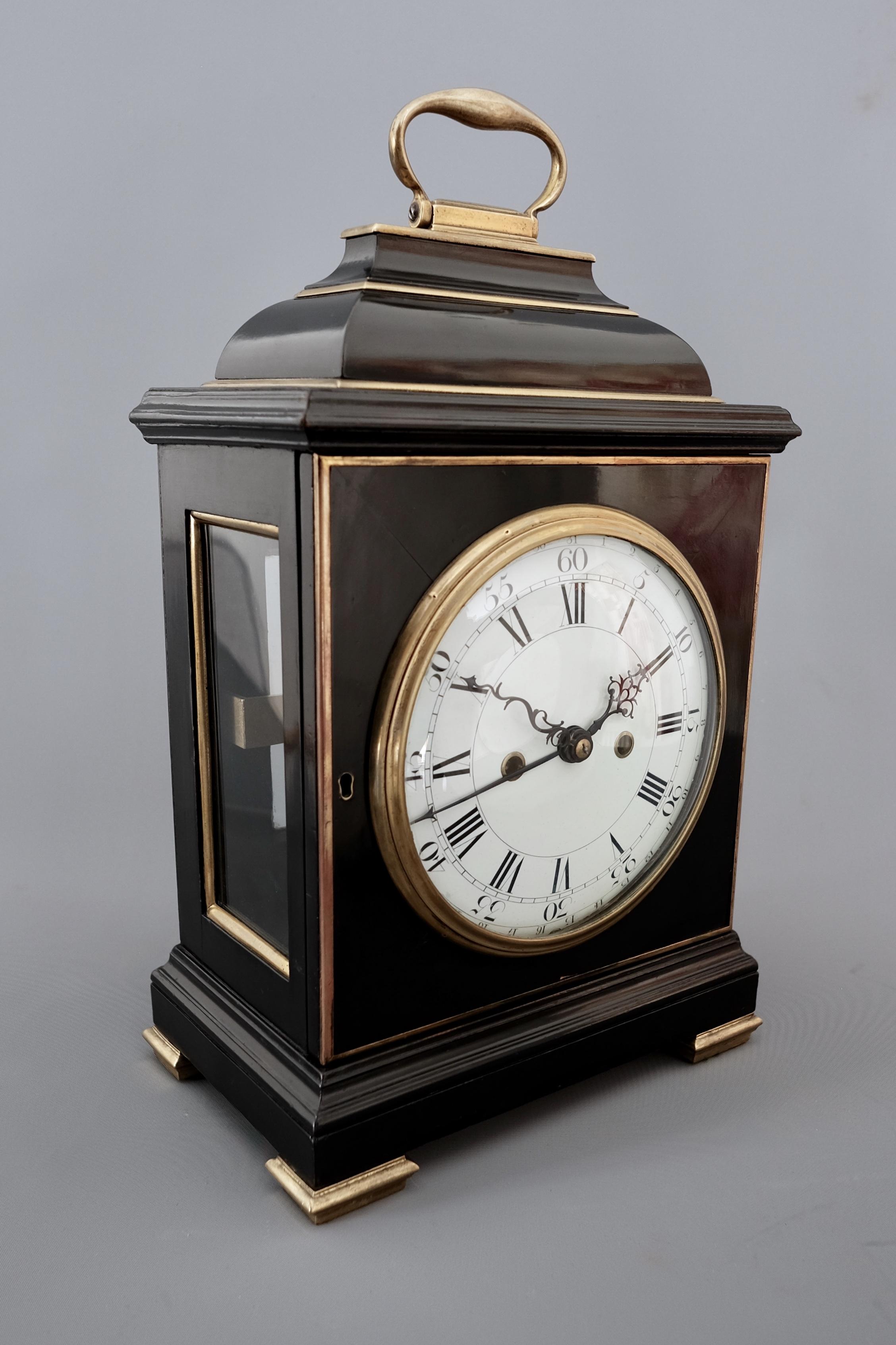 Ebonised striking bracket clock