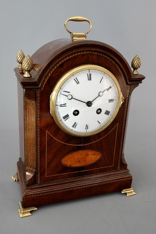 French mahogany and boxwood inlaid striking mantel clock