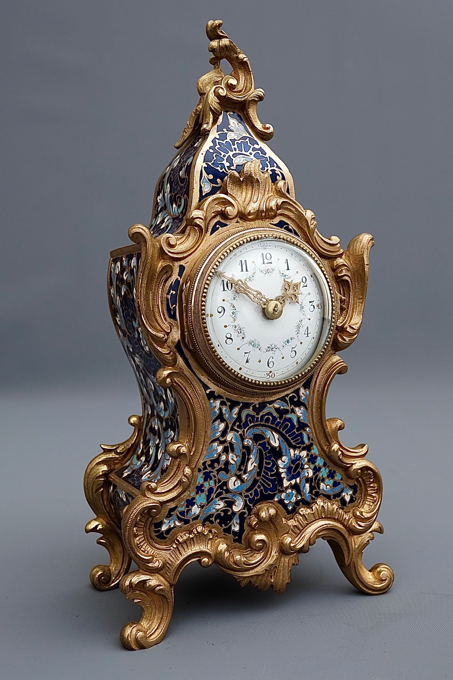 French Miniature Champleve Enamel Timepiece Mantel Clock