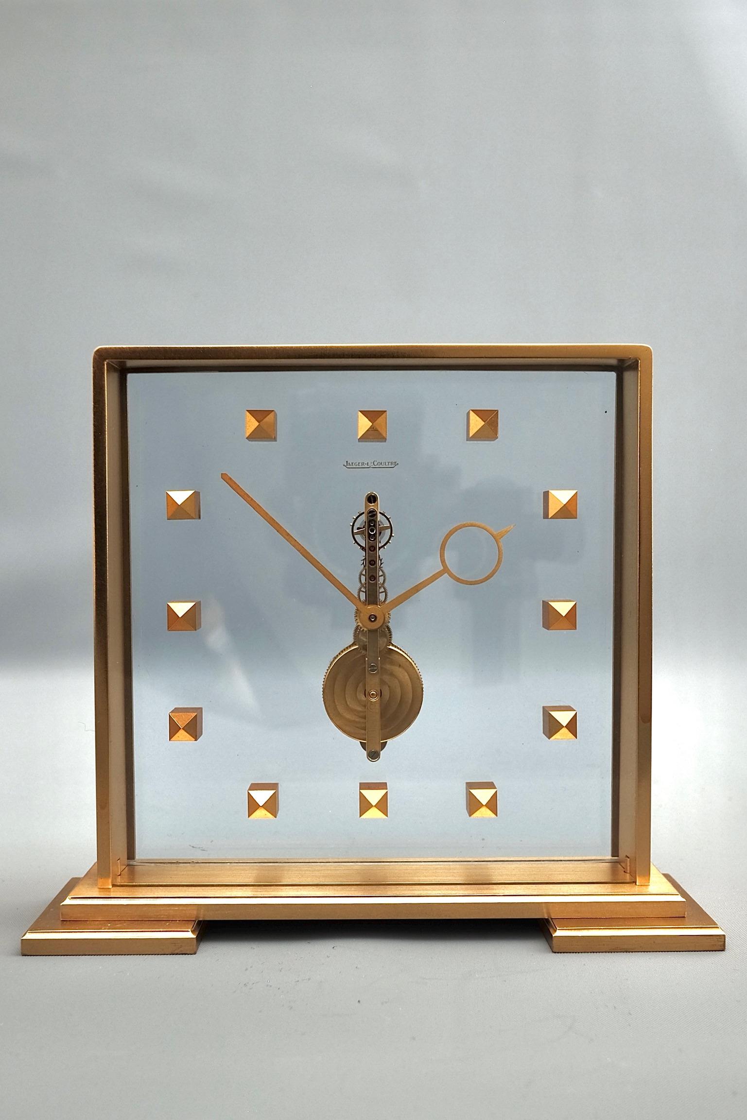 Mid Century Jaeger LeCoultre Vintage Skeleton Clock