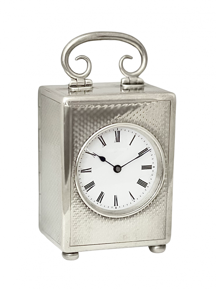 French miniature silver timepiece carriage clock