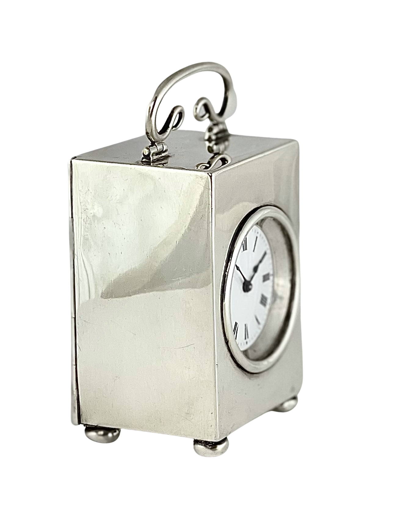 Antique French silver miniature timepiece carriage clock