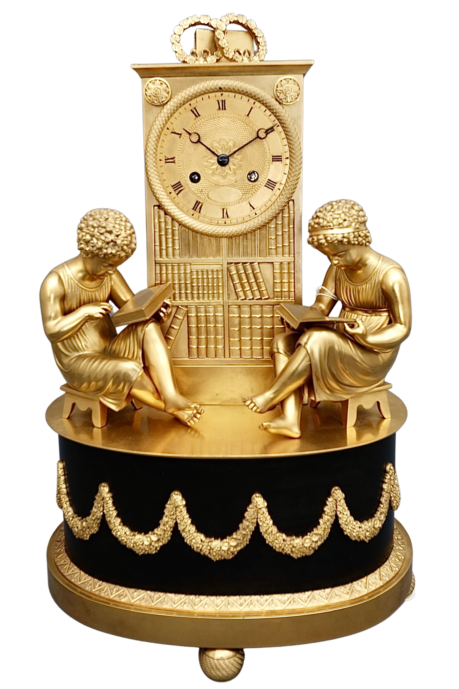 French Empire Ormolu and Marble Striking Mantel Clock
