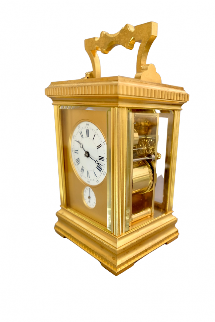 French ormolu eight day striking and petit-sonnerie repeating carriage clock