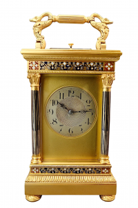 Antique French enamel eight day striking and repeating carriage clock