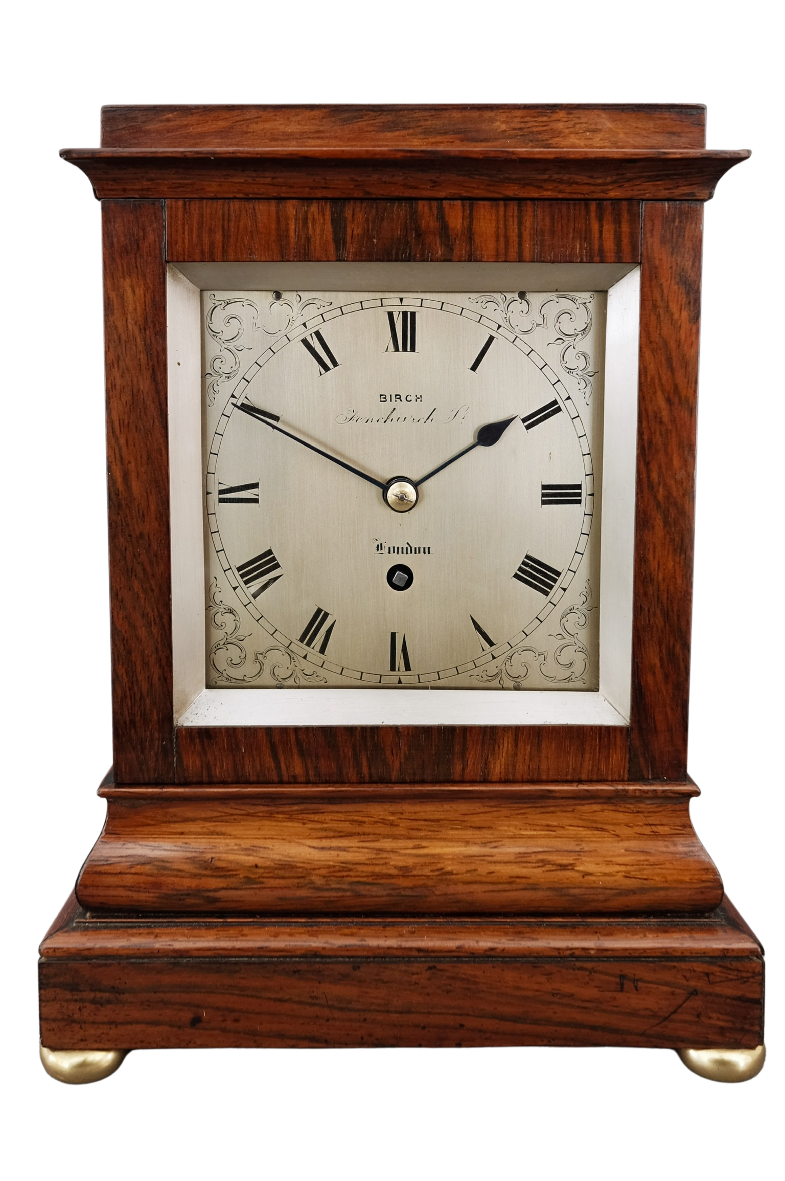 English rosewood timepiece library clock