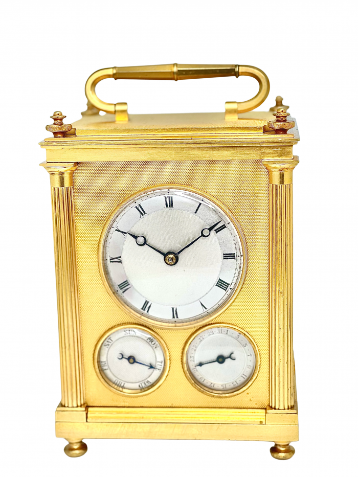 English grande sonnerie striking and calendrical carriage clock