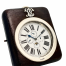 An English silver-mounted leather desk clock with full calendar and rolling moon