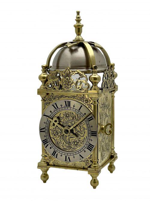 Antique Miniature Timepiece Lantern Mantel Clock