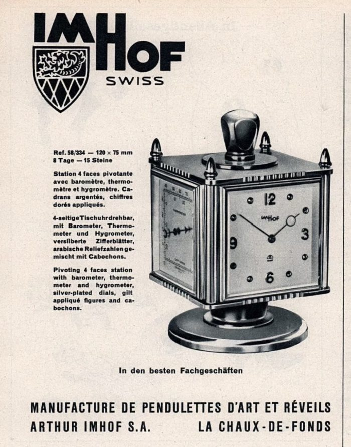 Advert Imhof Mid Century Weather Compendium Clock