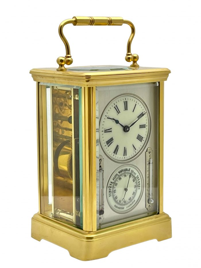 A French eight day clock barometer timepiece carriage clock