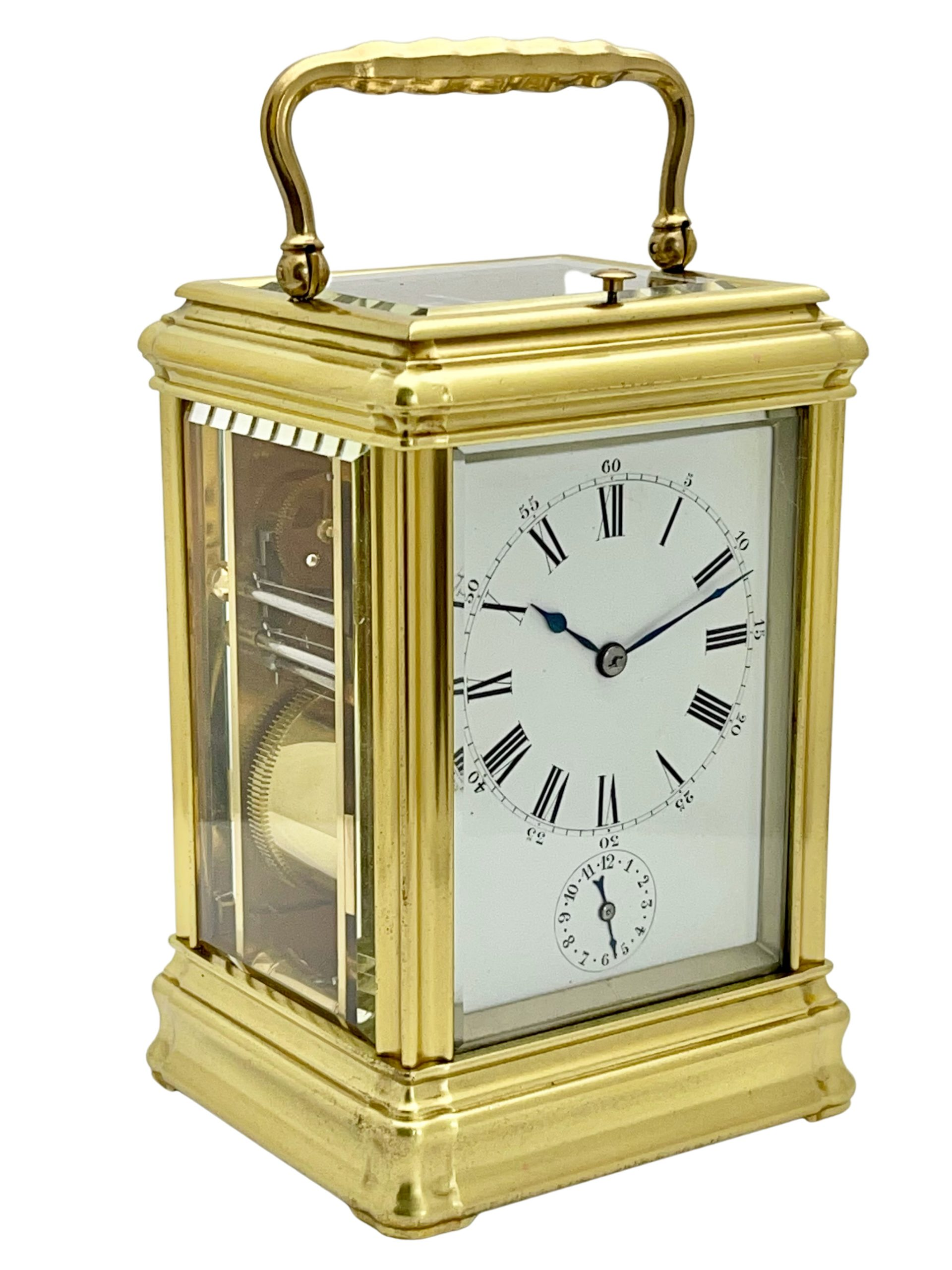 Antique French eight day grande sonnerie striking and repeating carriage clock