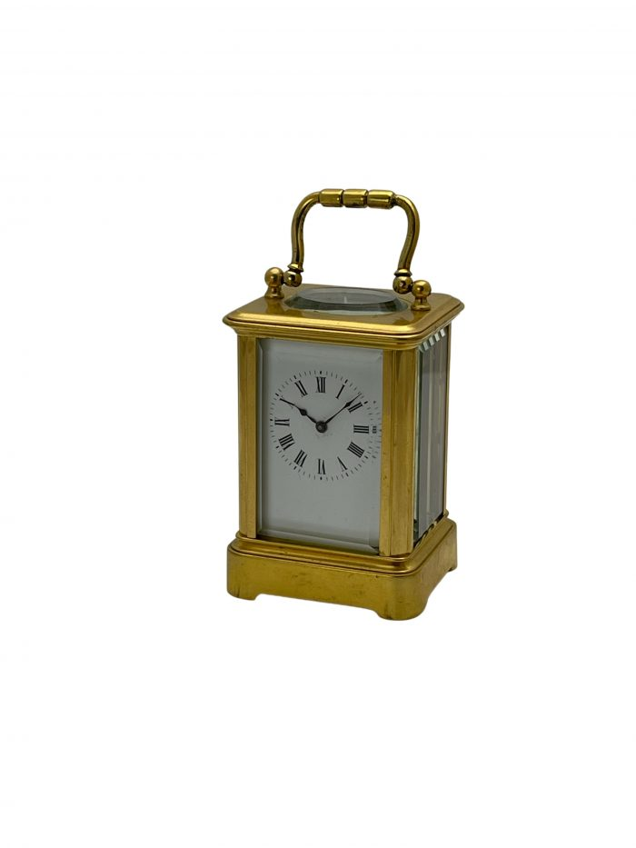 A French miniature brass timepiece carriage clock