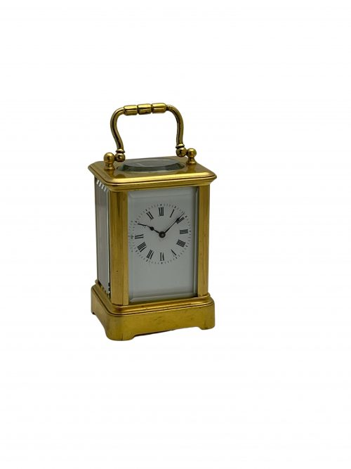 French miniature brass timepiece carriage clock
