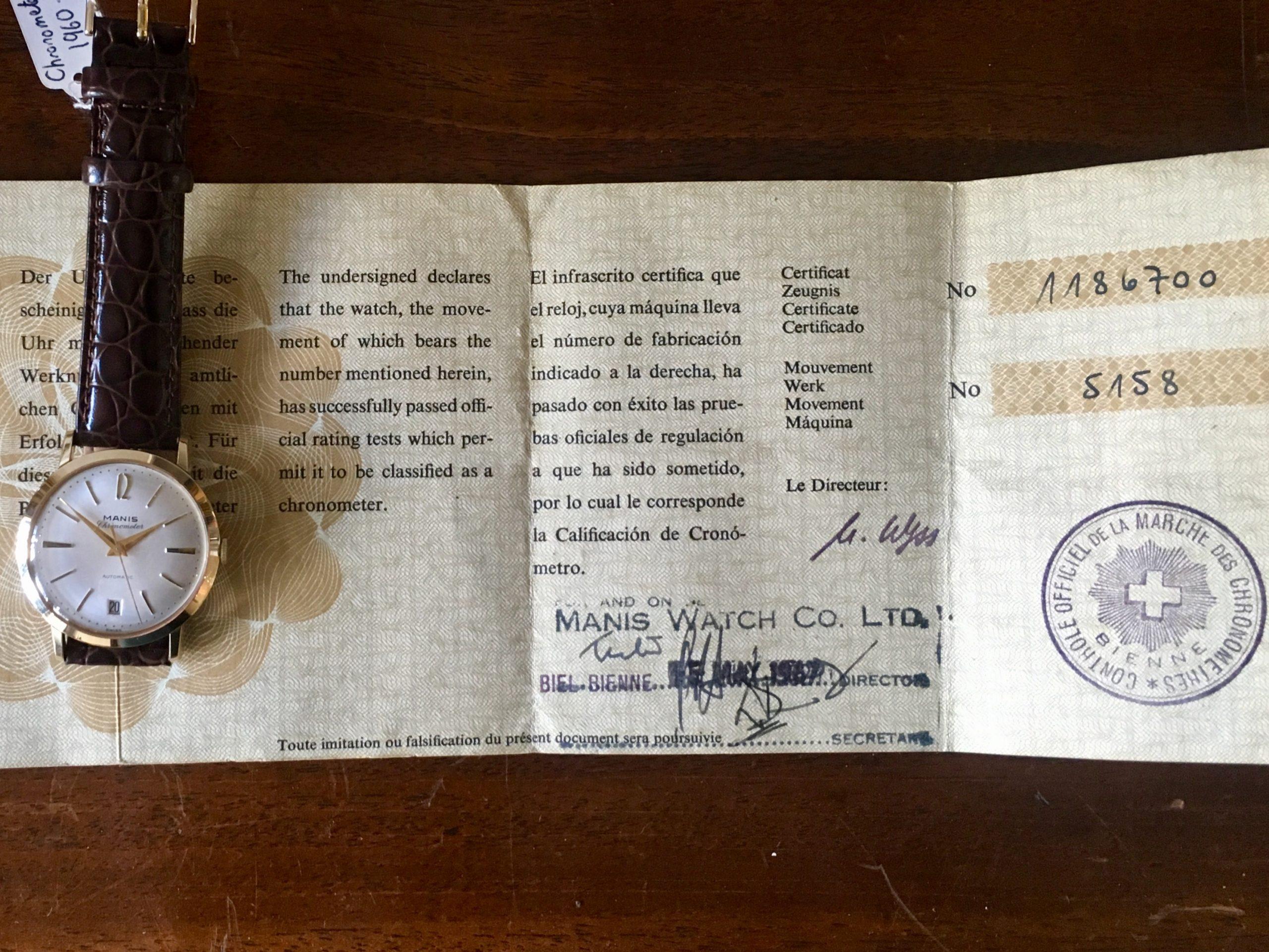 Certificate Vintage Manis Chronometer