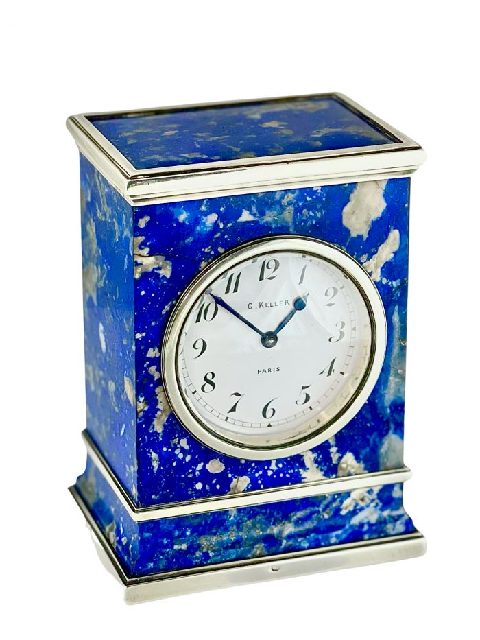 French silver and lapis laziuli miniature carriage clock of Russian interest