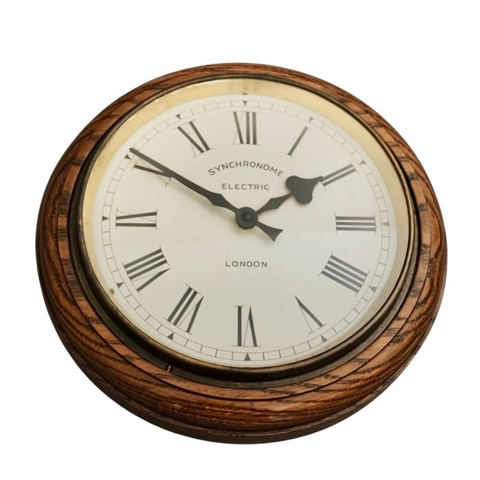 Antique synchronome electric railway wall clock
