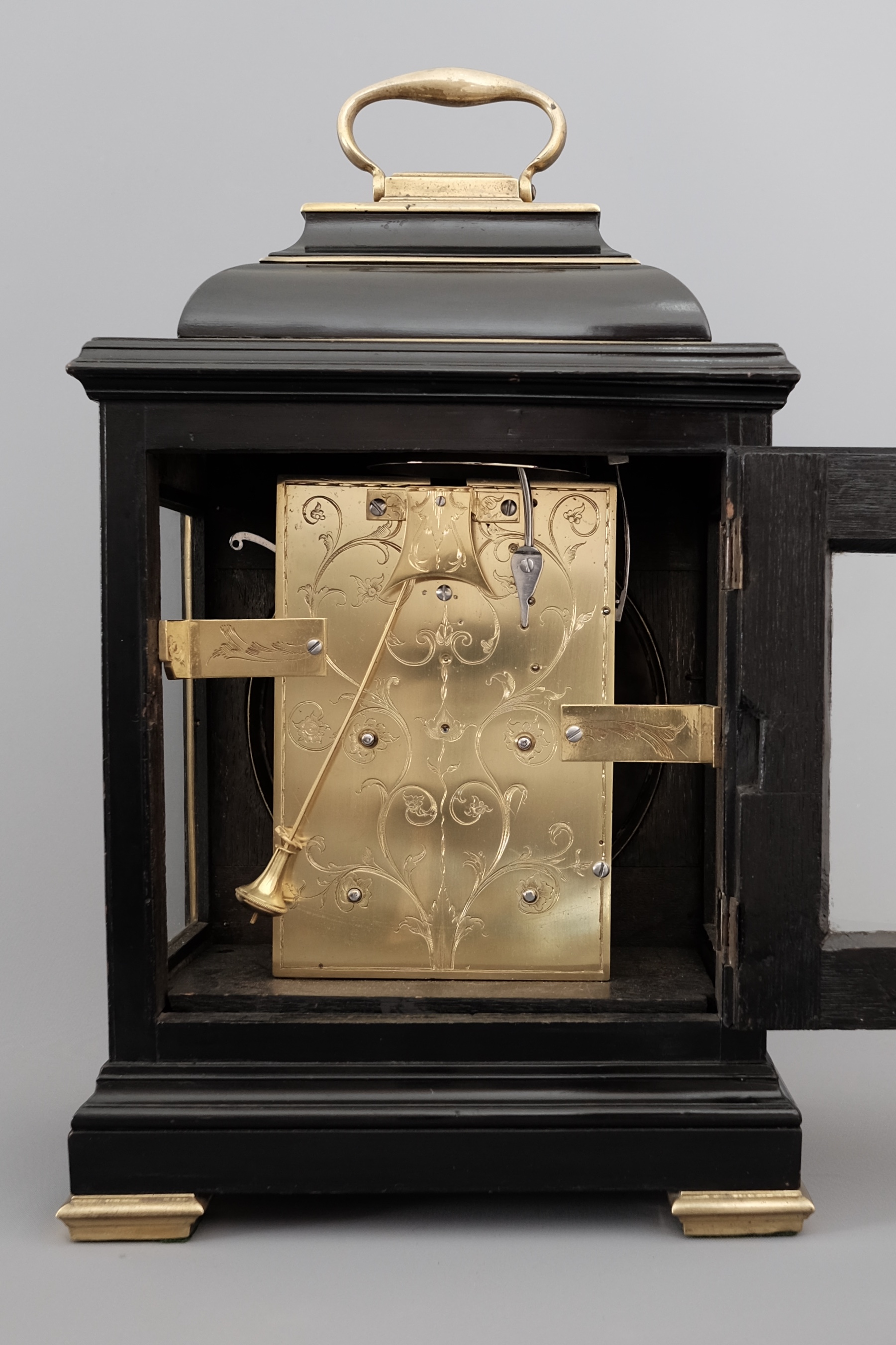 Bell-top ebonised striking bracket clock
